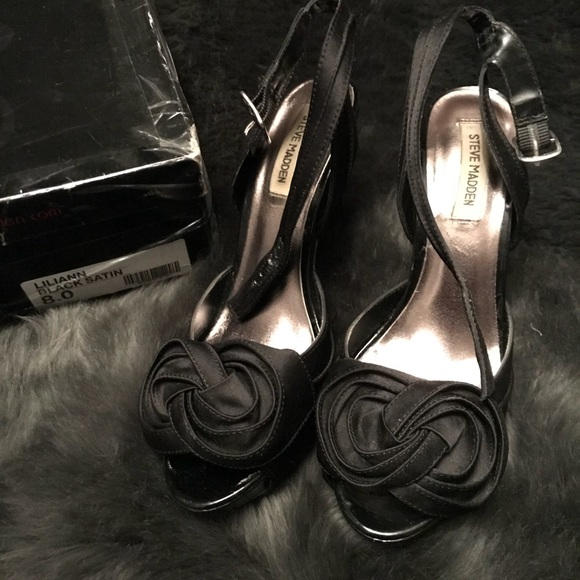 3ec759608c9 Steve Madden Shoes | Lillian Black Satin Size 8 | Poshmark
